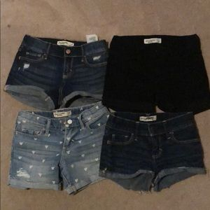 Lot of 4 girls Abercrombie & Fitch denim shorts